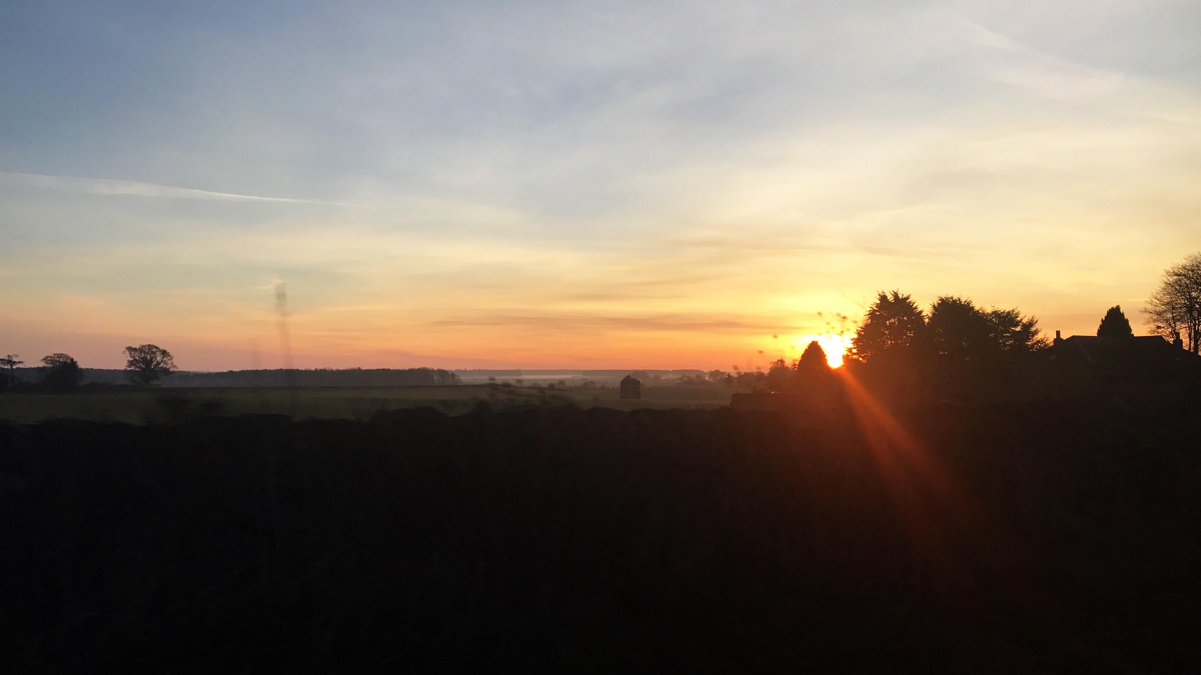 Country scene with sun rise peeking between trees.